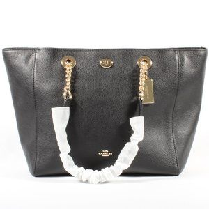 Coach XL Chain Shoulder Bag Black Leather Tote NEW